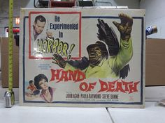 Hand Of Death (1962) US Half Sheet Movie Poster 22x28 Early 60's Horror!
