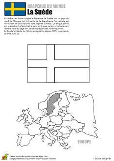 A colorier, une illustration du drapeau de La Suède