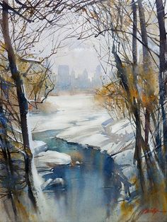 THomas Schaller - Winter in Central Park Watercolor Water, Watercolor Trees, Watercolor Artists, Watercolor Landscape, Watercolor Illustration, Landscape Paintings, Watercolor Paintings, Watercolors, Watercolor Portraits