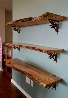 We used reclaimed maple slabs to create this wall shelving unit. After sanding and applying 5 coats of satin polyurethane ( 2… | My Style southwester We used reclaimed maple slabs to create this wall shelving unit. After sanding and applying 5 coats of satin polyurethane ( 2… | My Style ..