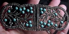 Rare Large Jeweled Victorian Georgian French Cut Steel Turquoise Belt Buckle