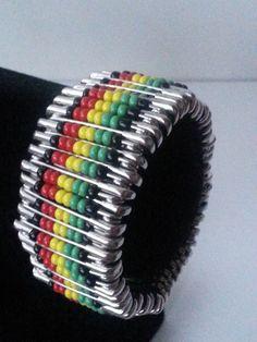 Cool rasta/reggae safety pin bracelet