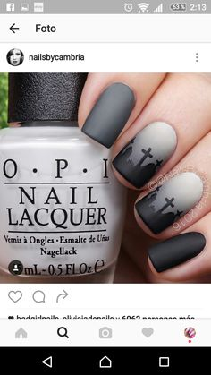Tombstone cemetery nail art. Love!