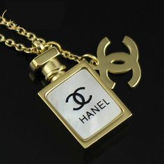 women 18k gold ceramic Chanel perfumes necklace $20.00