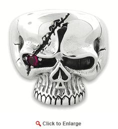 Sterling Silver Pirate Design Skull Ring with Cubic Zirconia $98
