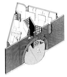 Mario Botta, House, Morbio Inferiore, Switzerland, 1986 P… - Architecture Diy Architecture Graphics, Architecture Drawings, Architecture Plan, Axonometric Drawing, Isometric Drawing, Section Drawing, Line Drawing, San Rocco, Arch Model