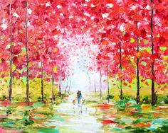 Original oil painting For Elizabeth 16x20 Spring Romance with dogs by Karen Tarlton