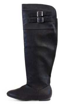 Black Faux Leather Over The Knee Boots With Buckle Accents