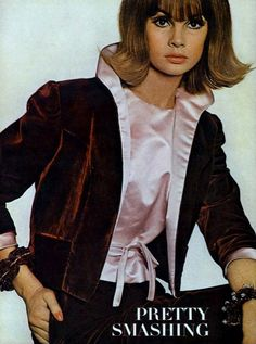 1963 Jean Shrimpton in claret velvet suit pinked in satin by Leonard Arkin, photo by David Bailey, Vogue