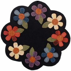 Wool Flower Mat Pattern Wool - 5 Ways To Make Money From Home With Fleece Owning wool producing anim Felted Wool Crafts, Felt Crafts, Fabric Crafts, Sewing Crafts, Penny Rug Patterns, Wool Applique Patterns, Applique Ideas, Pattern Fabric, Purse Patterns