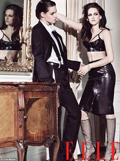 Lady in drag: Kristen Stewart plays both the female and male roles in a sultry photoshoot for the latest issue of Elle Magazine