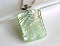 Pale Green and Silver Fused Glass Pendant by bprdesigns