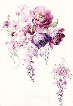 Floral watercolor hand-painted flower garden wallpaper background material tiled iPhone Wallpaper - Gardening Gazebo