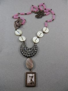 African American Equestriian Vintage Mixed Media Necklace Carved MOP Buttons Vintage Pink Beads Rhinestones Long Necklace by DebsVintageSoul on Etsy