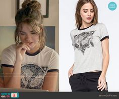 Callie's elephant graphic tee on The Fosters.  Outfit Details: https://wornontv.net/56253/ #TheFosters