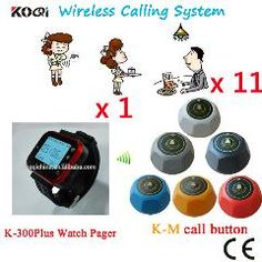 [ $21 OFF ] Wireless Customer Calling System Watch Waiter Paging Call Waiter Pager Button Customer Service(1 Watch+11 Table Call Button)