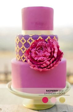 Pink and gold wedding cake inspired by these colors! Wedding Cake Intricate peach sugar flowers and blue berries. This is such a fresh color. Gorgeous Cakes, Pretty Cakes, Cute Cakes, Amazing Cakes, Cupcake Torte, Cupcake Cookies, Purple Cakes, Pink Purple, Hot Pink