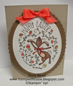 Stampin' Up!- A cute Easter card using the 'Happy Easter Bunny' set!