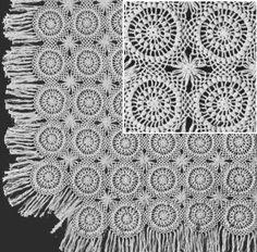 Puff Stitch & Spider Motif Bedspread Crochet Pattern - KarensVariety.com