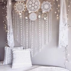 """☄️✨""""Opportunities are like sunrises, if we wait to long we will miss them.""""✨Happy Friday Dreamers, hope you all have had a lovely week and ready for a relaxing weekend! Photo featuring our original design 8 set Dreamcatcher mix Crochet Wall Mural.✨ For more handmade Dreamcatchers and Wall Murals see our bio for the website link. www.dreamcatcher-collective-australia.com #Dreamcatcher #crochetdreamcatcher #wallmural #doilydreamcatcher #crochetwallmural #dreamcatchercollage…"""