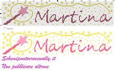 martina nome con bacchetta magica schema punto croce - Schemi punto croce gratis di Wally
