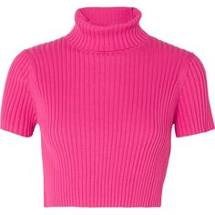 Staud Staud - Lilou Cropped Ribbed Cotton Top - Fuchsia (£110) via Polyvore featuring tops, crop top, cut-out crop tops, staud, fuschia pink top and fuschia top