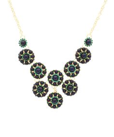 Take a look at this Blue & Gold Circle Cluster Bib Necklace on zulily today!