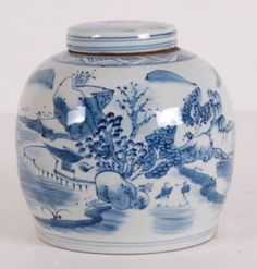 """9"""" Blue and White Chinoiserie Jar"""