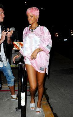 Rihanna street style candids 2014 x pinkanna pink short hair pixie cut