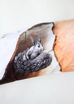 nice details. illustrated squirrel with photographed pine bark. #pillow #eichhörnchen #rinde #organic #vegan