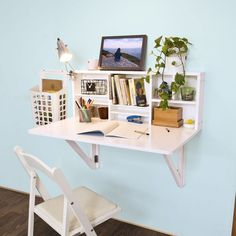 Furniture, Wall Mounted Desk Fold Away Study Table Painted With White Color With Lamp Bookshelf And Folding Chair Ideas ~ Wall Mounted Desk