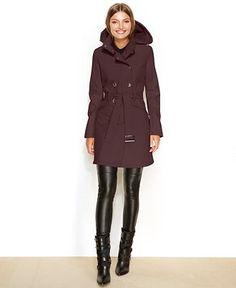 Calvin Klein Hooded Belted Soft Shell Raincoat - Coats - Women - Macy's $120