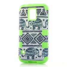 Cute Trible Elephant   Case Silicone Hybrid Case For Samsung Galaxy S5 Green