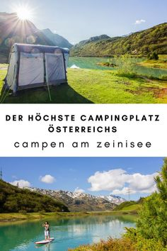 Spend the night at the highest campsite in Austria! We camped on Lake Zeinisee and went to stand up paddling on the lake in the morning. We drove back on the Silvretta High Alpine Road. You can find the whole story in our Trasty Story. Camping Am See, Camping With Kids, Camping Survival, Camping Hacks, Camping Gear, Camping Stores, Camping Cot, Camping Hammock, Van Camping