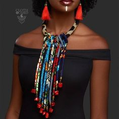 Ethnic handmade jewelry & accessories - Cloth and Cord, formerly E. Turner Couture creates and sells handmade African inspired bold statement jewelry and accessories. Diy African Jewelry, African Accessories, African Necklace, African Attire, African Wear, African Women, African Dress, Fabric Necklace, Fabric Jewelry