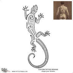 """Mana Atua. Power from the gods. This Maori styled lizard tattoo was created as part of a series of designs related to the theme of protection, which are freely available for download as a bonus book in our designs series, PROTECTION"""", freely downloadable here: http://www.tattootribes.com/books.php#bonus"""