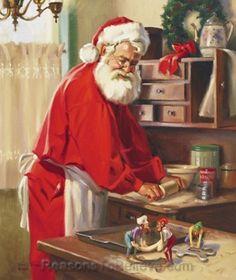Cookie Makers - Santa with his elf helpers by Tom Browning