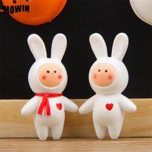 2pcs/lot Pet Shop Resin Long Ear Rabbit Anthony Fuji Rabbit Figures Cute Lovey Animal Model Toy Baby Table Art Deco Mini Statues(China (Mainland))