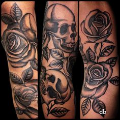Roses and Skulls  Tattoo by Paulo da Butcher @ Impact custom tattoo Portugal