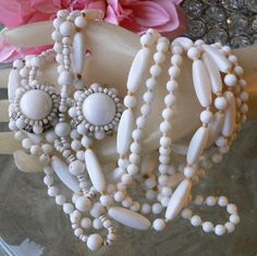 LOVELY ANTIQUE MILK WHITE GLASS JEWELRY COLLECTION