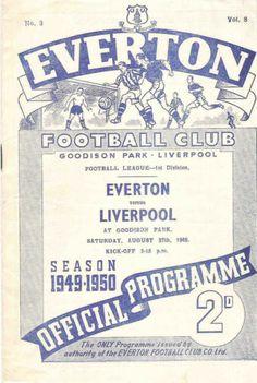 Everton v Liverpool football programme - August 1949 Pure Football, Classic Football Shirts, Retro Football, Vintage Football, Football Soccer, Soccer Cards, Football Cards, Beauty