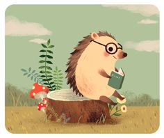 Hedgehog, by Yihsuan Wu Illustration Hedgehog Art, Cute Hedgehog, Art And Illustration, Hedgehog Illustration, Reading Art, Reading Time, Reading Books, Dibujos Cute, Art Plastique