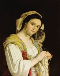 Juan Cordero (1822-1884) Portrait of a woman knitting with a cat
