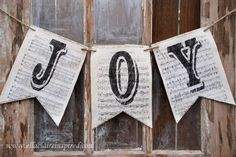 Vintage Sheet Music Christmas Banners by Ella Claire