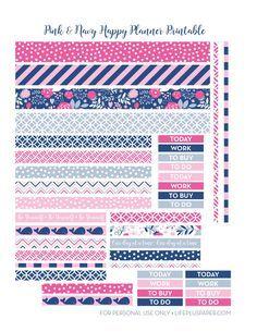 Pink and navy printable washi tape