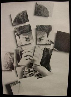 fragmented self-portrait-grid technique Demon Drawings, Art Drawings, Pencil Drawings, High School Art Projects, Art School, Drawing Projects, Drawing Ideas, Ap Studio Art, A Level Art