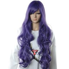 Diy Women's Long Wavy Dark Purple Anime Cosplay Party Hea… Purple Wig, Dark Purple, Cosplay Wigs, Anime Cosplay, Kinds Of Colors, Long Hair Styles, Party, Diy, Fashion