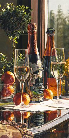 Limited edition giclee print on Canvas of Eric Christensen's original watercolor Sparkling Proposal featuring Perrier-Jouet and Veuve Clicquot champagnes. Art Du Vin, Champagne Moet, Champagne Brands, Champagne Party, Perrier Jouet, Wine Art, Festa Party, In Vino Veritas, Nouvel An