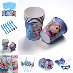 6pcs paper cups party decoration cups princess themed Olaf Anna Elsa kids birthday party supplies of party cups