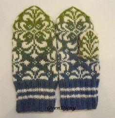 Купить Варежки женские вязаные Лилия - комбинированный, орнамент, кауни, кауни модели